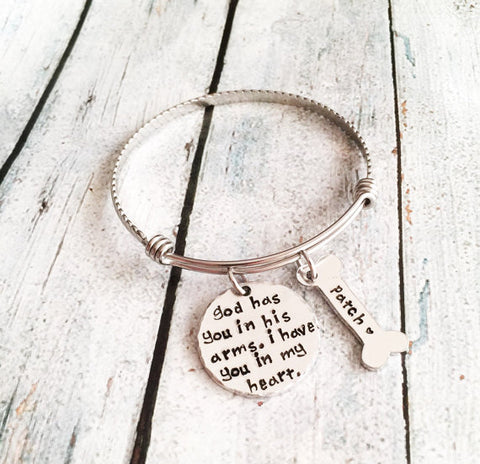 "Pet loss- Hand stamped dog bangle - ""God has you in his arms. I have you in my heart."""
