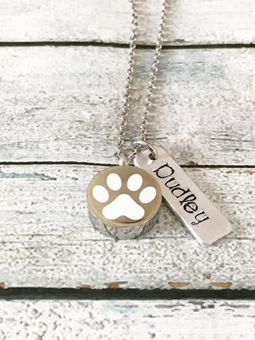 Pet loss - Hand stamped necklace - with Urn - Pet memorial