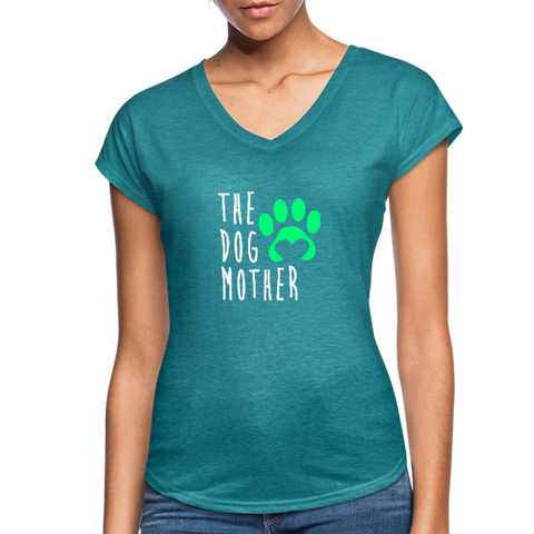 The Dog Mother - Women's Tri-Blend V-Neck T-Shirt - heather turquoise