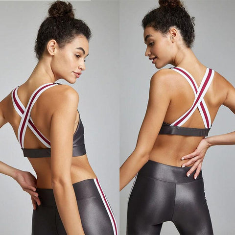 Image of Striped Fitness Tracksuit 2 Piece Set for Workout, Yoga, Running