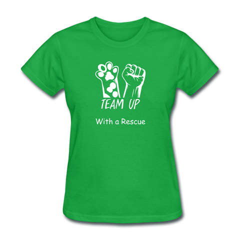 Team Up with a Rescue Women's T-Shirt - bright green