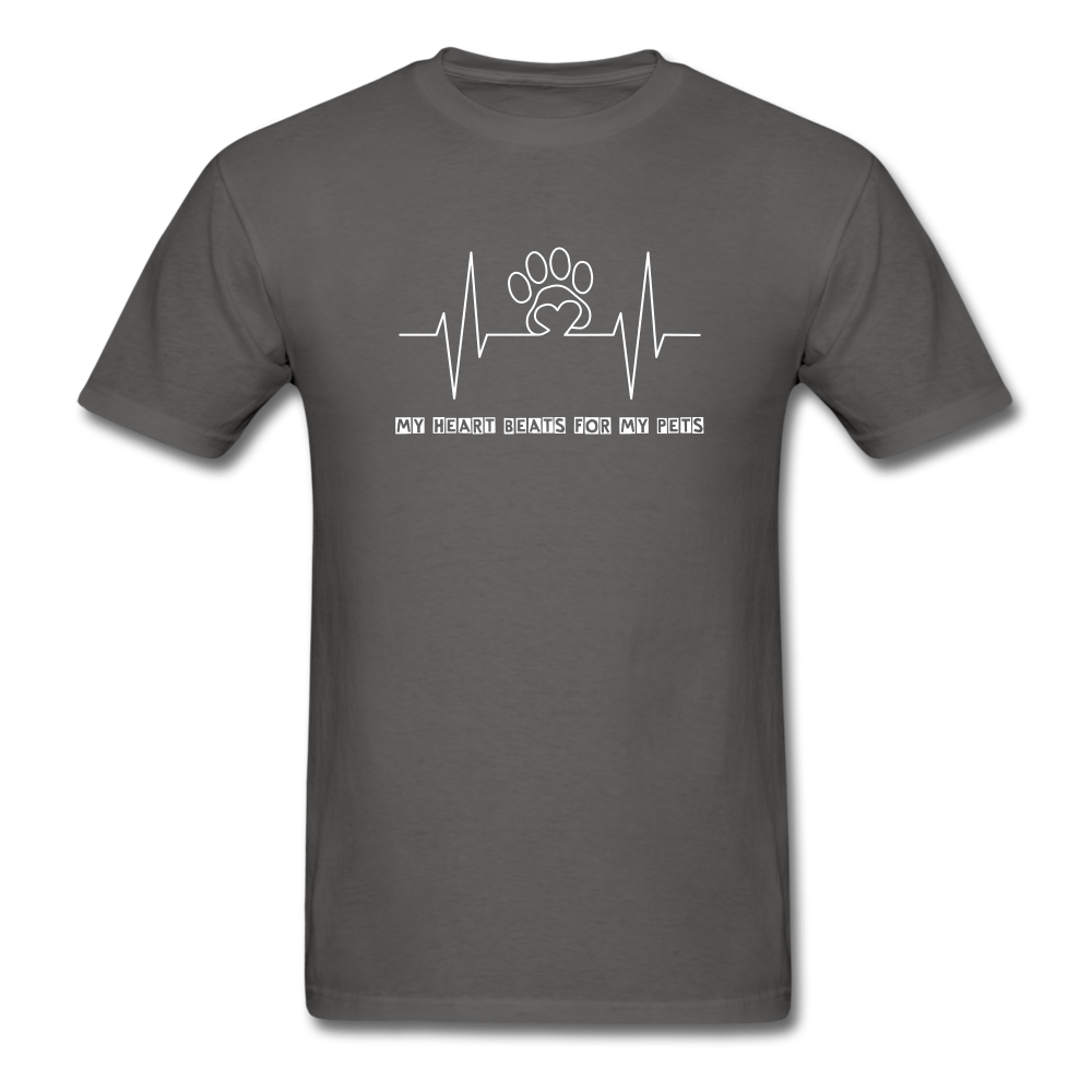 My Heart Beats for my Pets Men's T-Shirt - charcoal