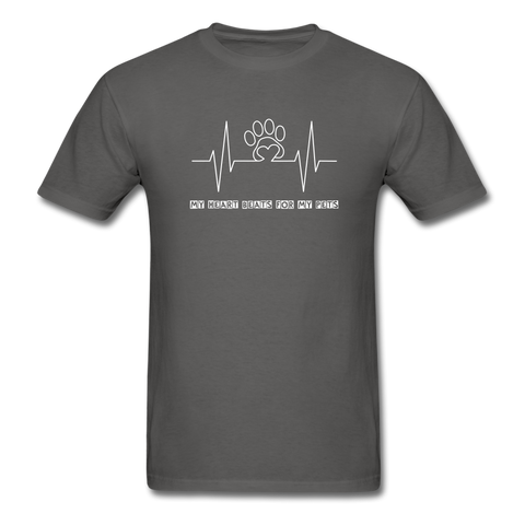 Image of My Heart Beats for my Pets Men's T-Shirt - charcoal