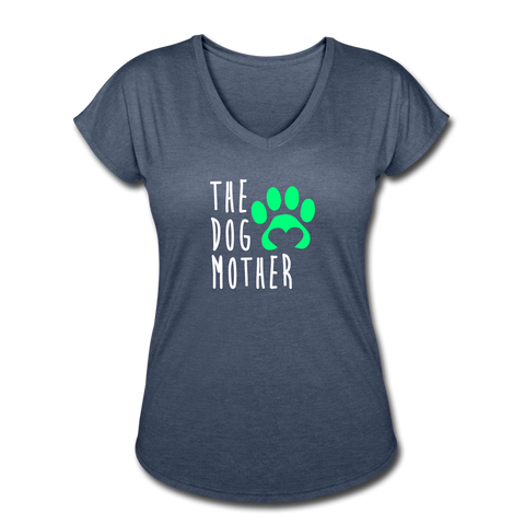 The Dog Mother - Women's Tri-Blend V-Neck T-Shirt - navy heather