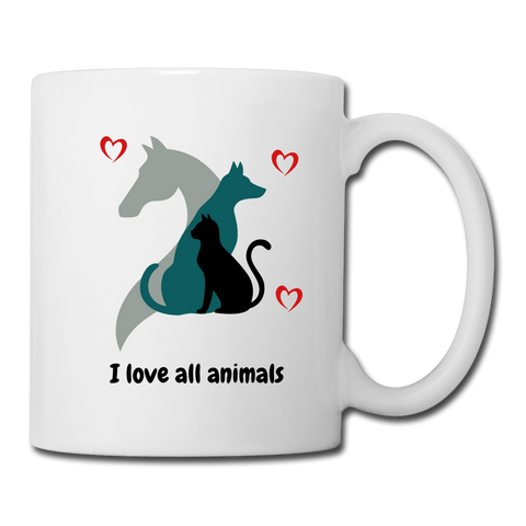 I love all animals Coffee/Tea Mug - white