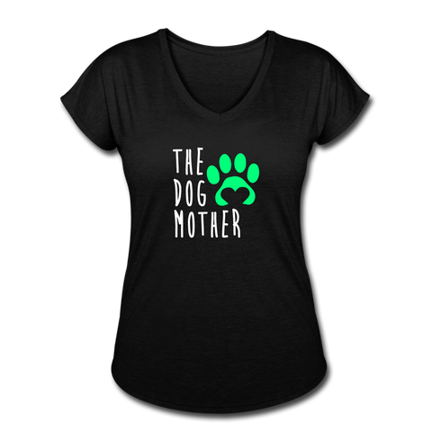 The Dog Mother - Women's Tri-Blend V-Neck T-Shirt - black
