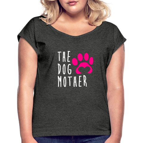 Image of The Dog Mother Women's Roll Cuff T-Shirt - heather black