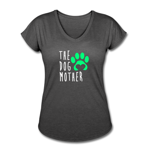 The Dog Mother - Women's Tri-Blend V-Neck T-Shirt - deep heather