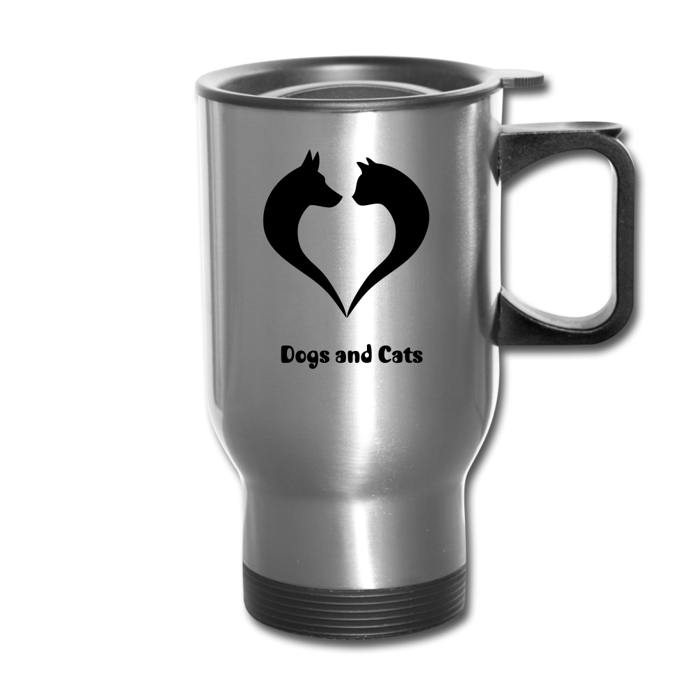 I love Dogs and Cats Travel Mug - silver