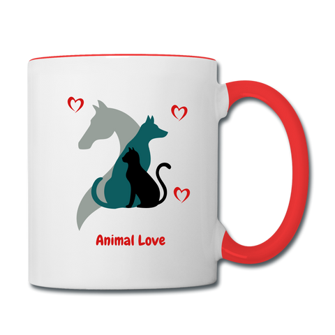 Image of Animal Love - Contrast Coffee Mug - white/red