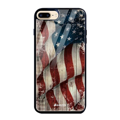 Glass Case Cover:USA Flag - Vintage Wooden Texture