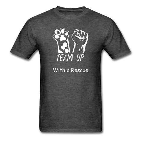 Team Up with a Rescue Men's T-Shirt - heather black