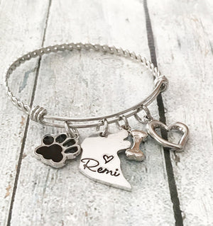 Dog tag - Hand stamped dog tag - Personalized -Bracelet