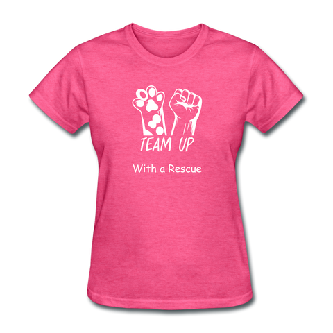 Team Up with a Rescue Women's T-Shirt - heather pink