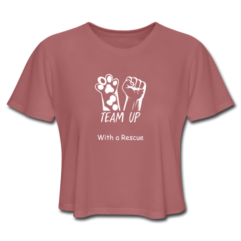 Team Up with a Rescue - Women's Cropped T-Shirt - mauve