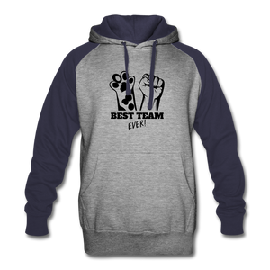 Best Team Ever Colorblock Hoodie - heather gray/navy