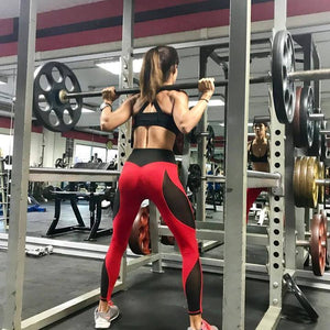 Mesh Push Up Fitness Leggings Red and Black