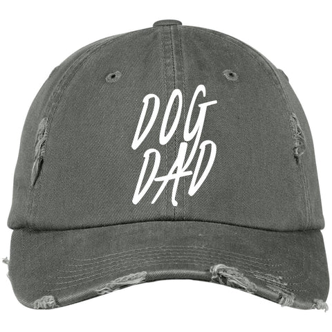 Image of Dog Dad District Distressed Dad Cap, 100% Cotton, different colors available.