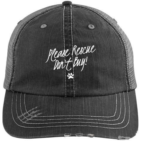 Please Rescue don't Buy  Distressed Unstructured Trucker Cap