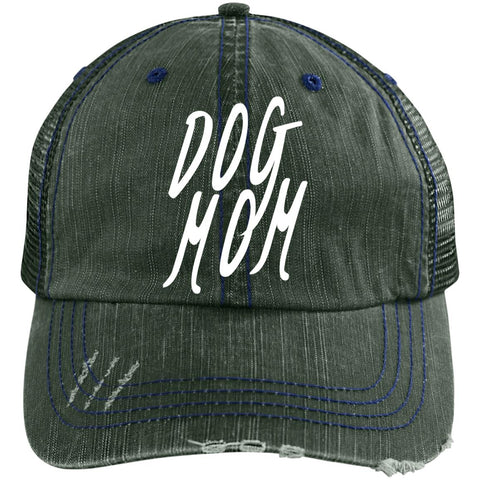Image of Dog Mom Cap. Distressed Unstructured Trucker Cap, Embroidery