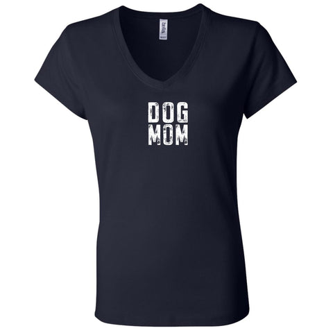 Image of Dog Mom Canvas Ladies' Jersey V-Neck T-Shirt