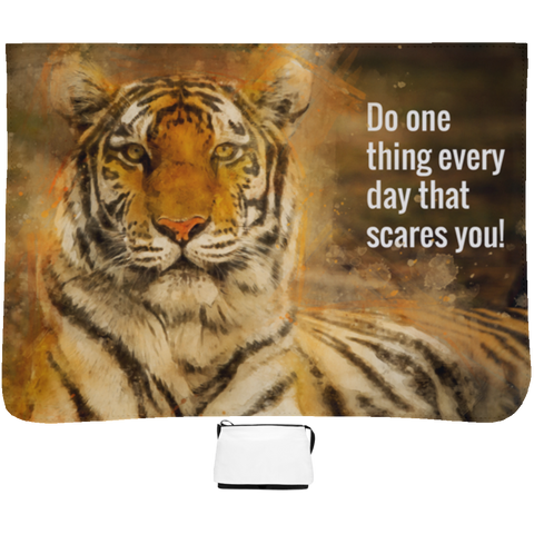 Image of Do one thing every day that scares you Tiger on aLarge Shoulder Bag