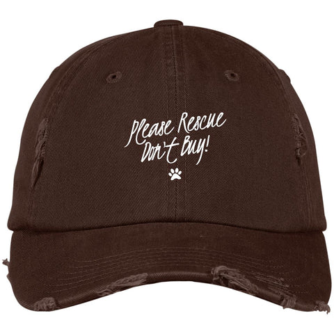 Image of Please Rescue Don't Buy District Distressed Dad Cap