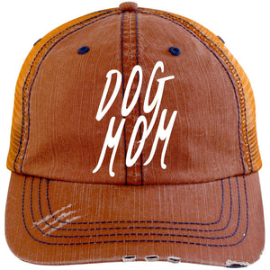 Dog Mom Cap. Distressed Unstructured Trucker Cap, Embroidery