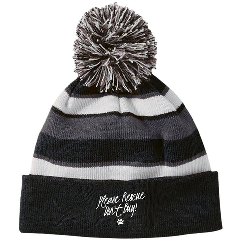 Please Rescue Don't Buy - Striped Beanie with Pom