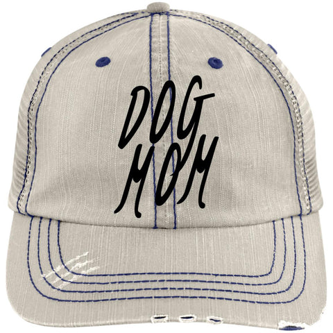 Image of Dog Mom Distressed Unstructured Trucker Cap