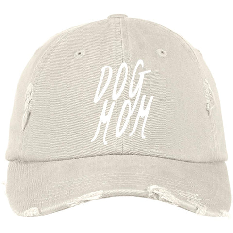 Image of Dog Mom Cap  District Distressed Cap, 100% Cotton. Available in 10 Different colors