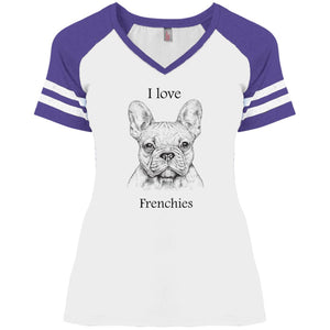 I love Frenchies Ladies' V-Neck T-Shirt
