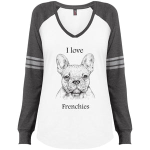 I love Frenchies  Ladies V-Neck T-Shirt