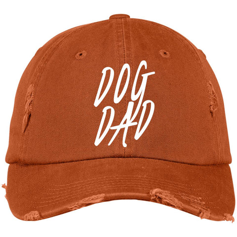 Dog Dad District Distressed Dad Cap, 100% Cotton, different colors available.