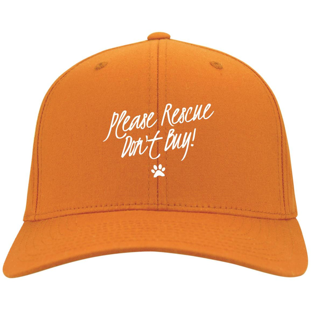 Please Rescue Don't Buy Port Authority Flex Fit Twill Baseball Cap