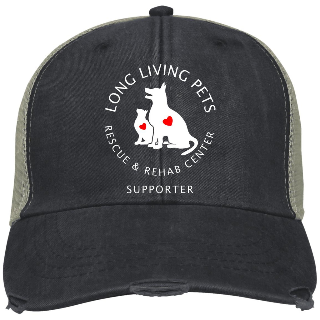 Long Living Pets Rescue and Rehab Center Distressed Adams Ollie Cap - Supporter