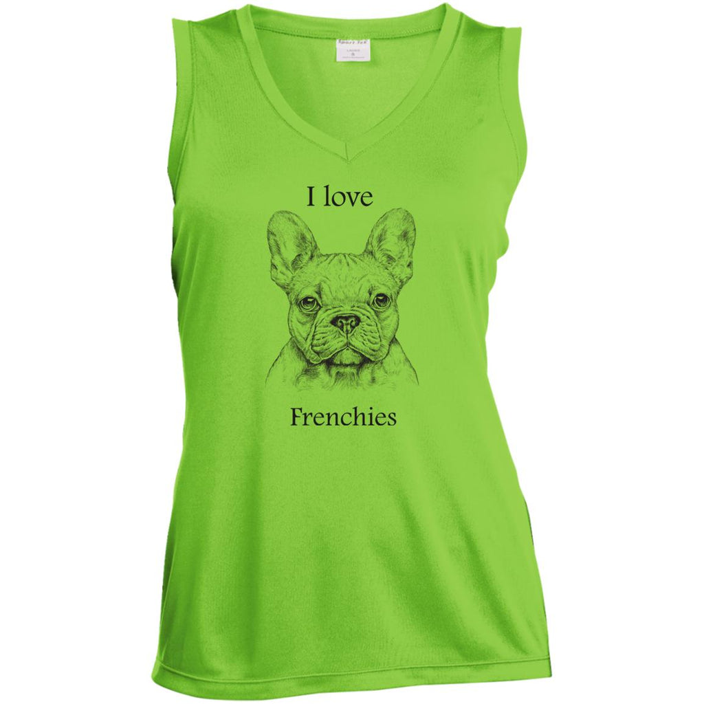 I love Frenchies Ladies' Sleeveless Moisture Absorbing V-Neck
