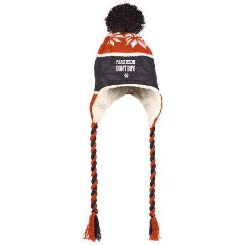 Rescue Don't Buy -  Hat with Ear Flaps and Braids
