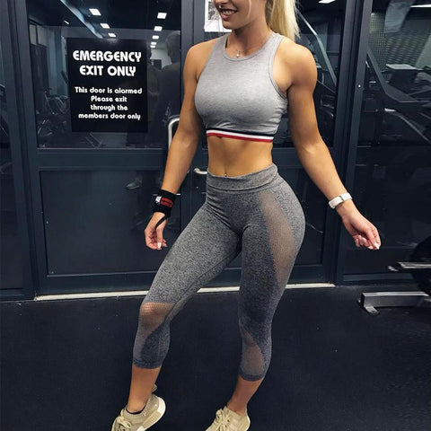 Image of Workout Leggings - High Waist - Tummy Control - Mesh Push Up