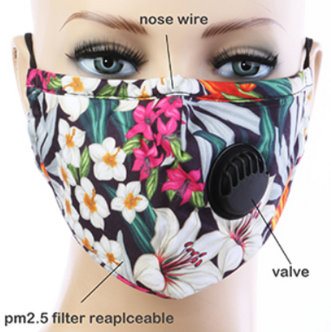 Flower Designs Reusable Cotton Mask with Valve and Filter PM2.5
