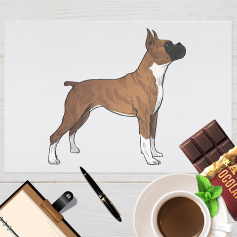 Image of Placemat with Hand drawn Boxer Design