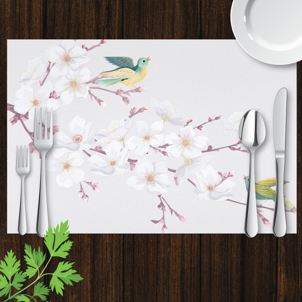Placemat with Hand drawn Cherry Blossom and Bird Design