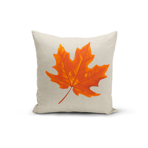 Orange Maple Leaf Pillow Cover