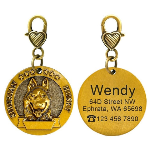 Personalized Dog ID Tag Custom Copper Coated Metal
