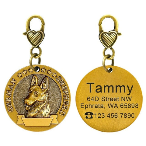 Image of Personalized Dog ID Tag Custom Copper Coated Metal