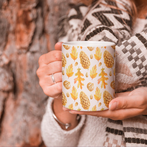 Image of Pine cones and Dried Leaves- Autumn Inspired Mug