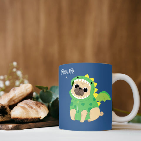 Image of Mug with Pug in Dragon Costume Design