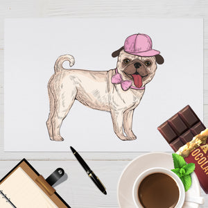 Pug in Pink Design Placemat