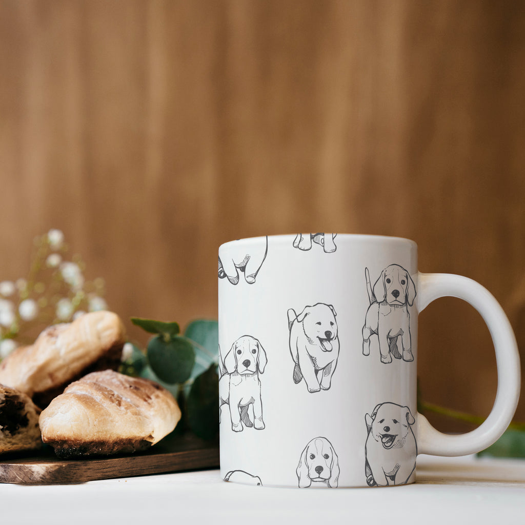 Mug with Different Puppy Breed Pattern