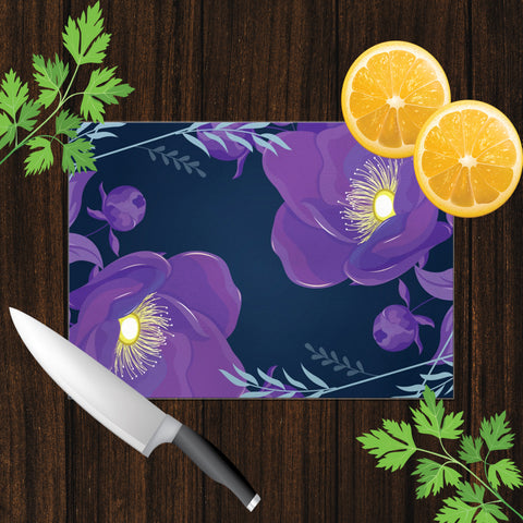 Image of Glass Cutting Board with Purple Flower Design